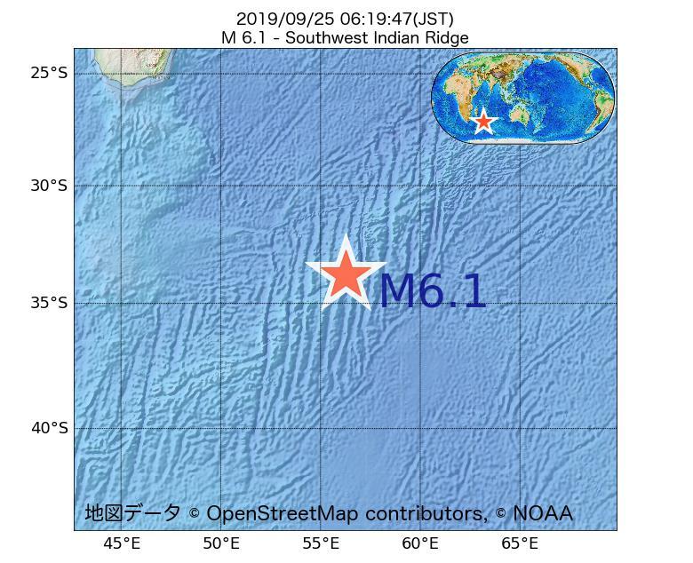 2019年09月25日 06時19分 - 南西インド洋海嶺でM6.1