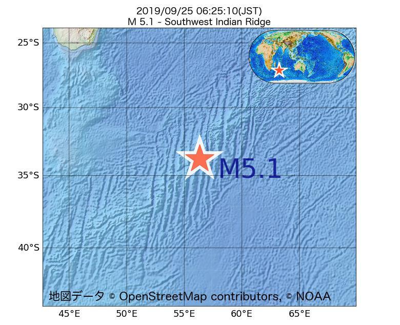2019年09月25日 06時25分 - 南西インド洋海嶺でM5.1