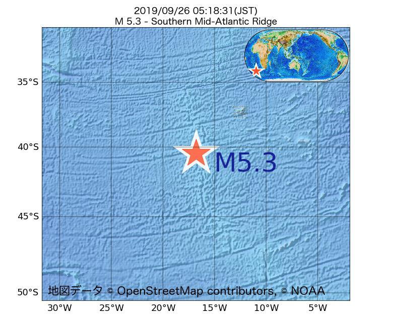 2019年09月26日 05時18分 - 大西洋中央海嶺でM5.3