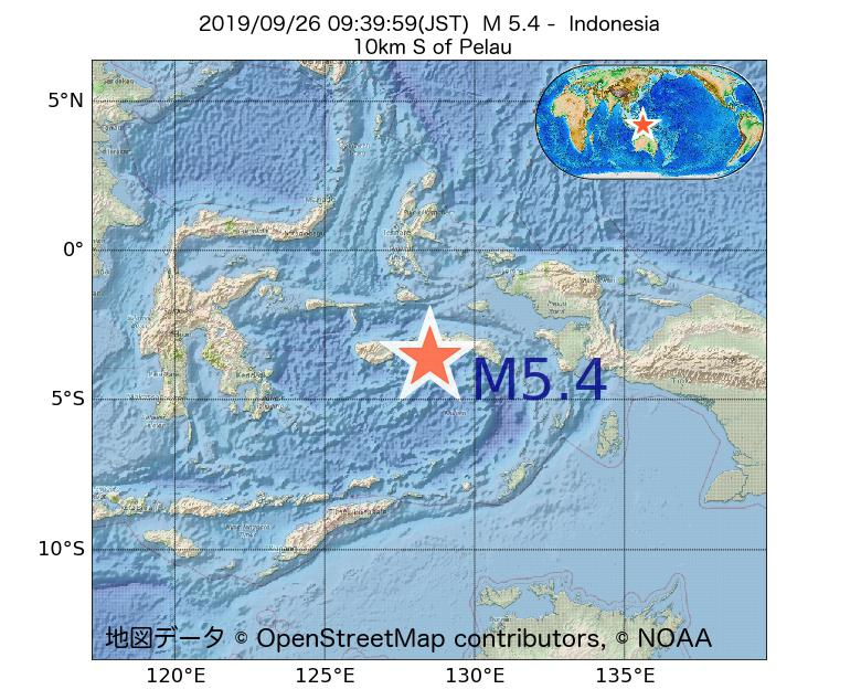2019年09月26日 09時39分 - インドネシアでM5.4
