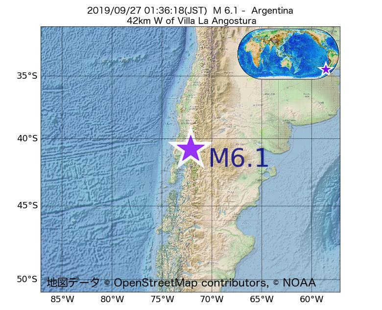 2019年09月27日 01時36分 - アルゼンチンでM6.1