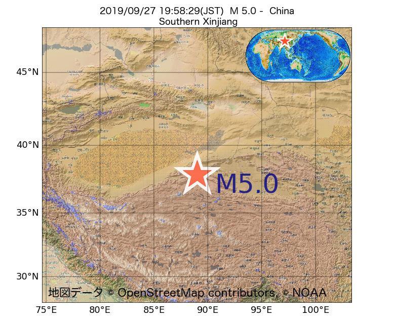 2019年09月27日 19時58分 - 中国でM5.0