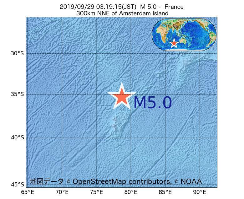 2019年09月29日 03時19分 - フランスでM5.0