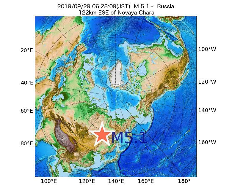 2019年09月29日 06時28分 - ロシアでM5.1
