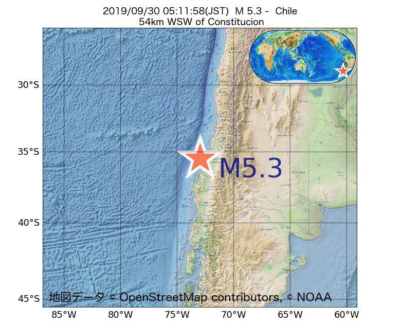 2019年09月30日 05時11分 - チリでM5.3
