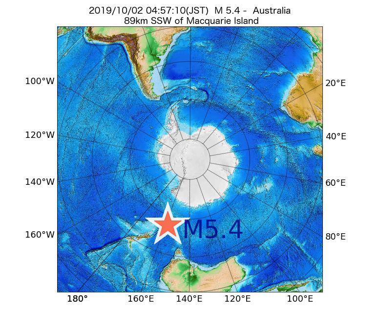 2019年10月02日 04時57分 - オーストラリアでM5.4