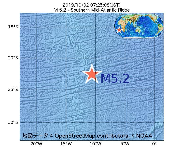 2019年10月02日 07時25分 - 大西洋中央海嶺でM5.2