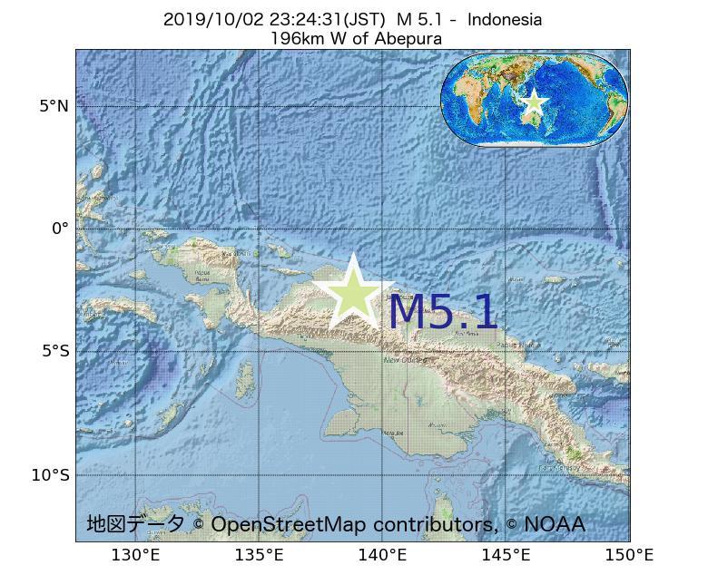 2019年10月02日 23時24分 - インドネシアでM5.1