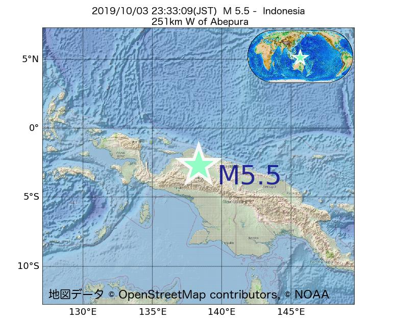 2019年10月03日 23時33分 - インドネシアでM5.5