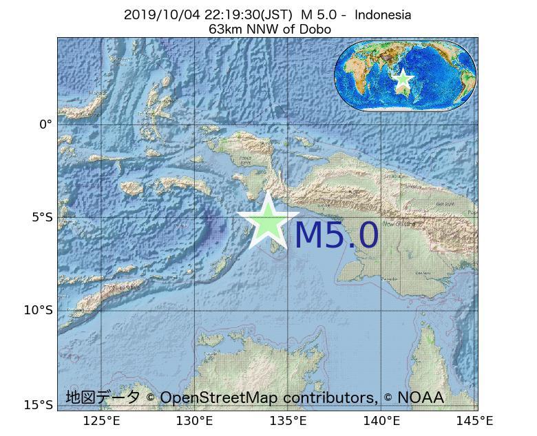 2019年10月04日 22時19分 - インドネシアでM5.0