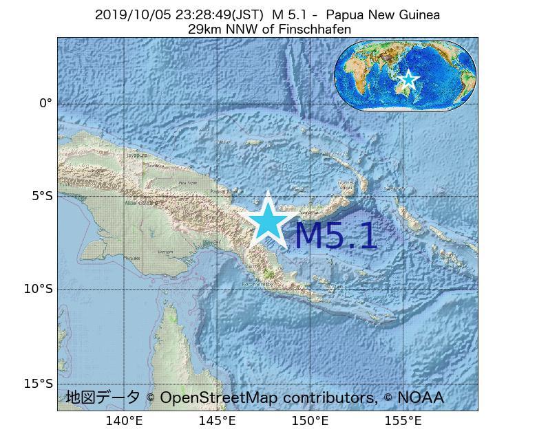 2019年10月05日 23時28分 - パプアニューギニアでM5.1