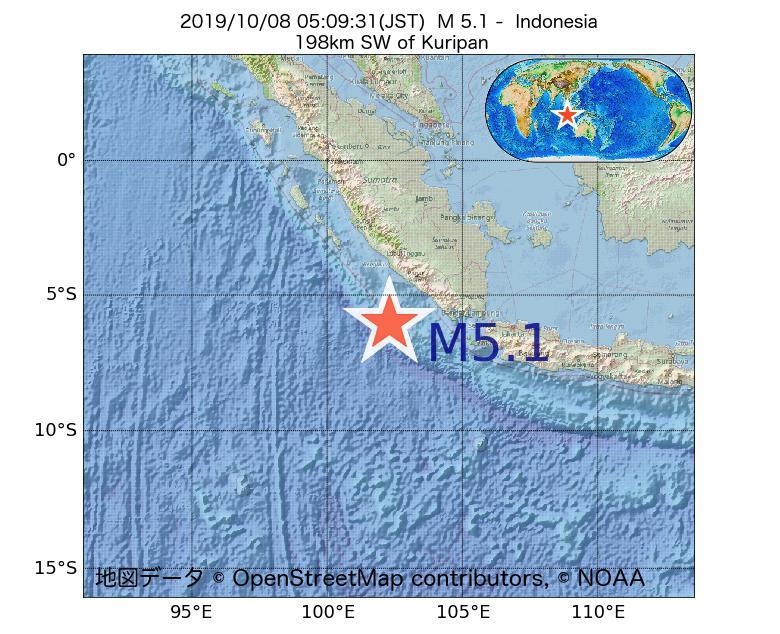 2019年10月08日 05時09分 - インドネシアでM5.1