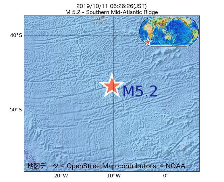 2019年10月11日 06時26分 - 大西洋中央海嶺でM5.2