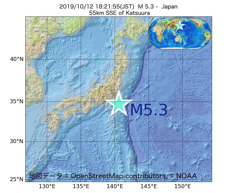 2019年10月12日 18時21分 - 日本でM5.3