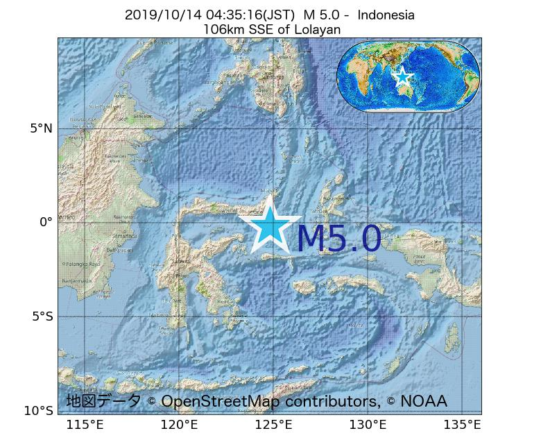 2019年10月14日 04時35分 - インドネシアでM5.0
