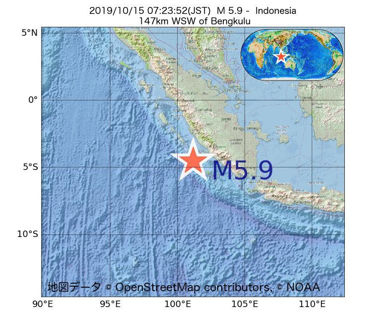 2019年10月15日 07時23分 - インドネシアでM5.9
