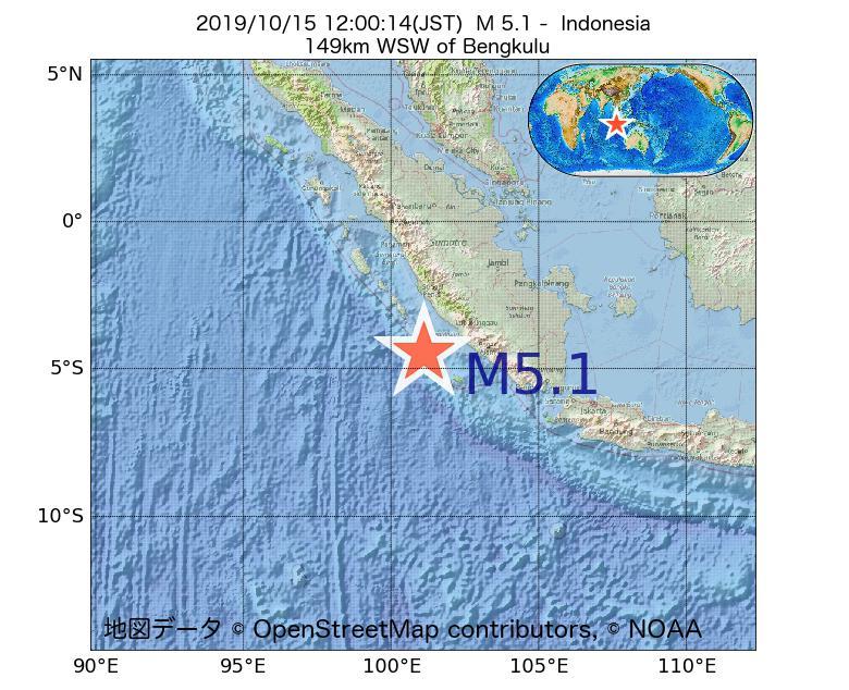 2019年10月15日 12時00分 - インドネシアでM5.1