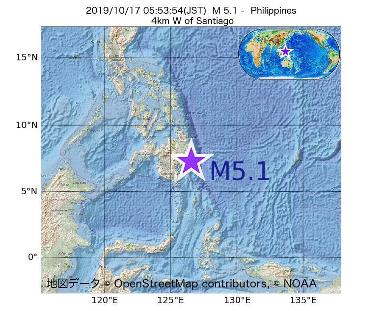 2019年10月17日 05時53分 - フィリピンでM5.1