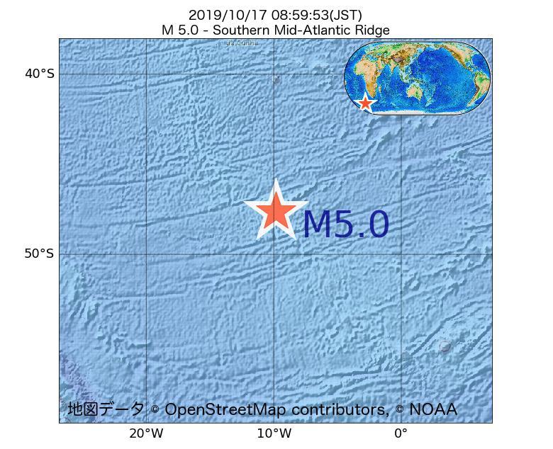 2019年10月17日 08時59分 - 大西洋中央海嶺でM5.0
