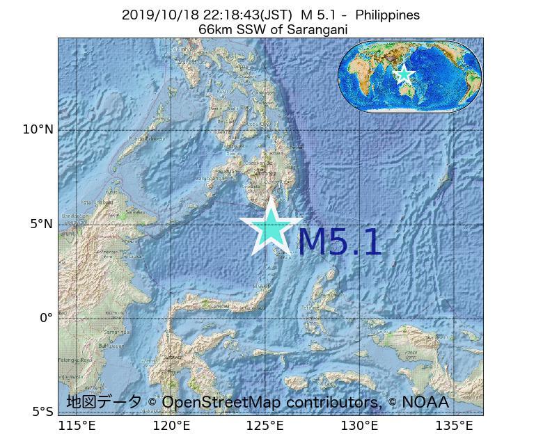 2019年10月18日 22時18分 - フィリピンでM5.1