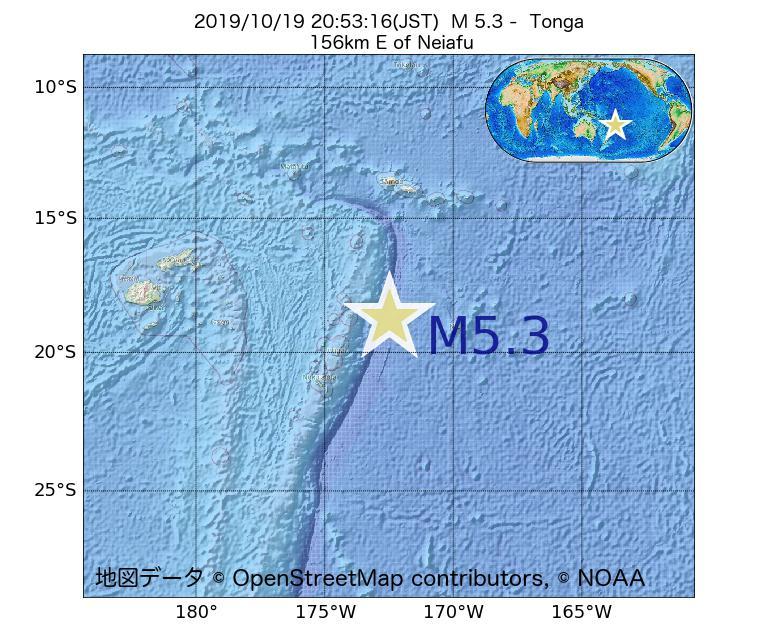 2019年10月19日 20時53分 - トンガでM5.3