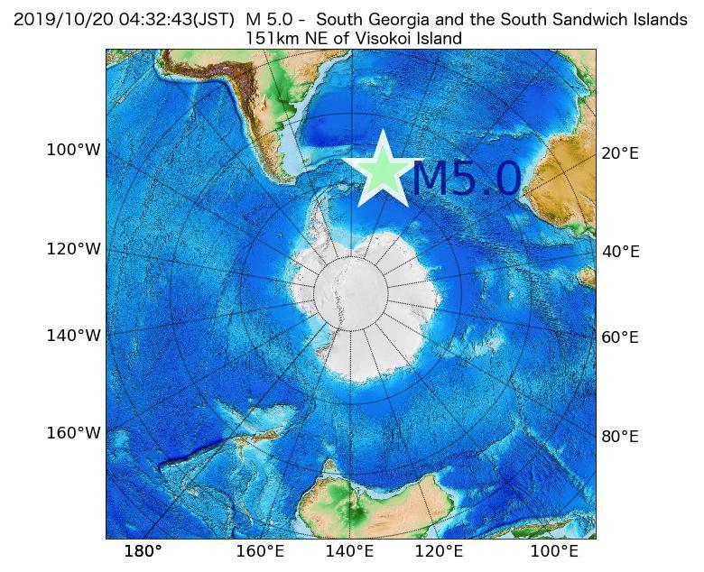 2019年10月20日 04時32分 - サウスサンドウィッチ諸島付近でM5.0