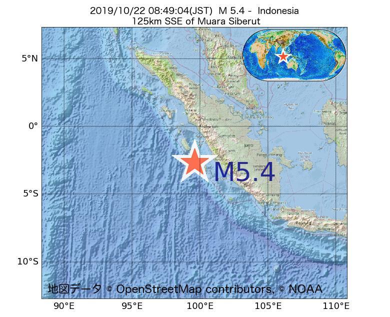 2019年10月22日 08時49分 - インドネシアでM5.4