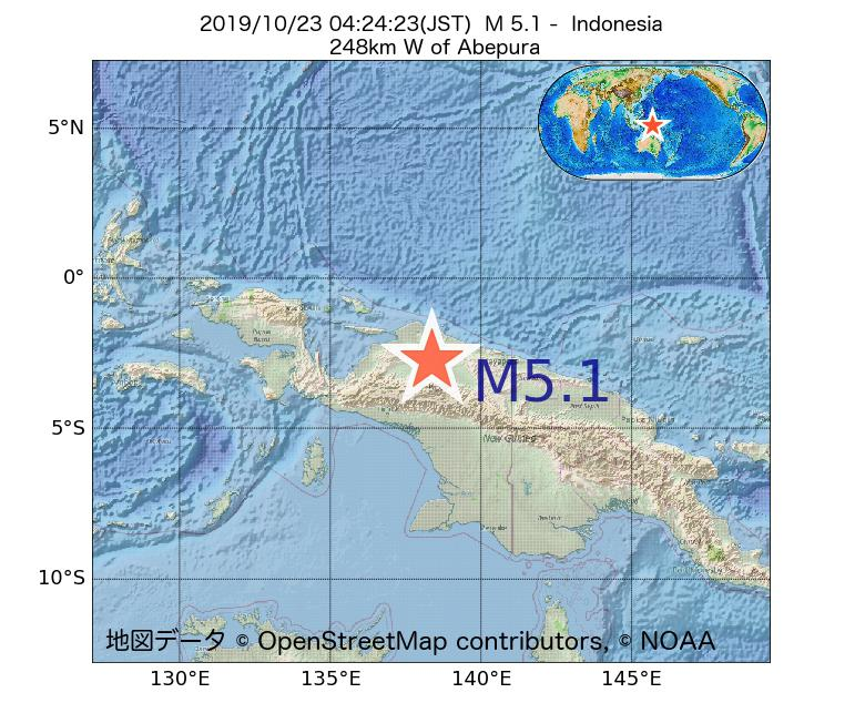 2019年10月23日 04時24分 - インドネシアでM5.1