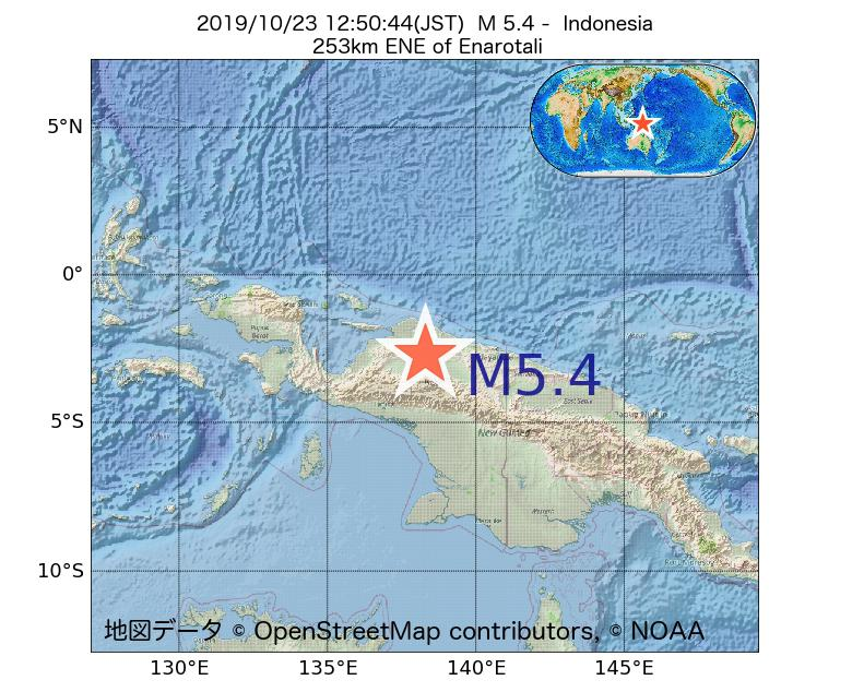 2019年10月23日 12時50分 - インドネシアでM5.4