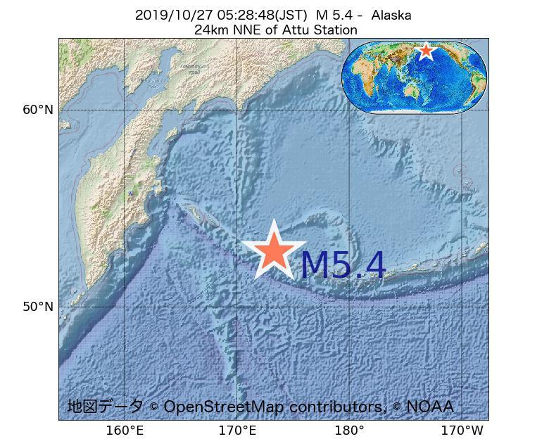 2019年10月27日 05時28分 - アラスカ州でM5.4