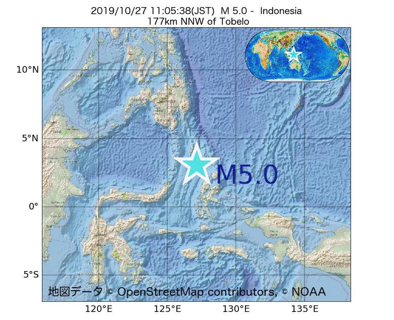2019年10月27日 11時05分 - インドネシアでM5.0