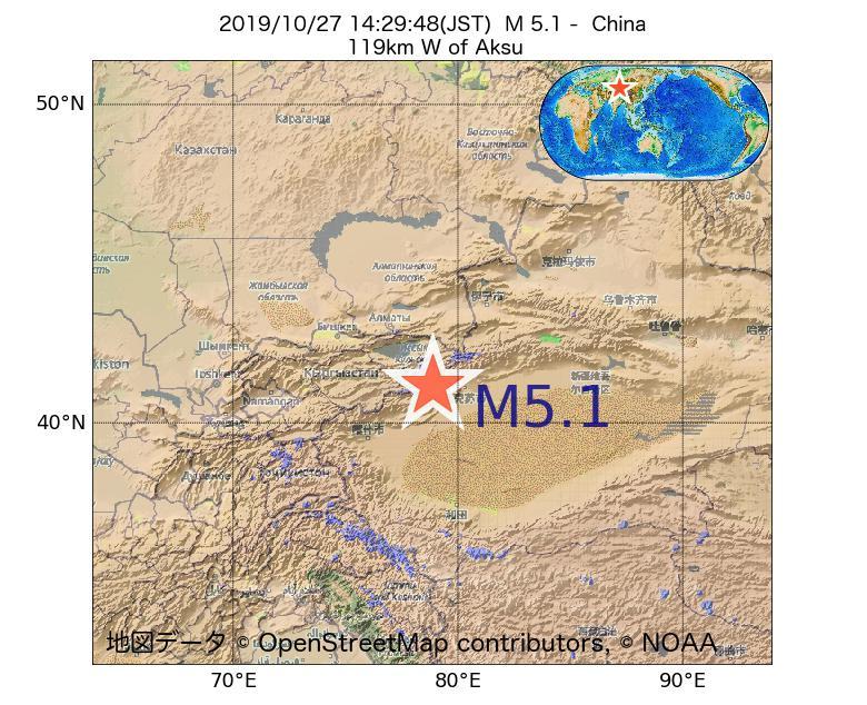 2019年10月27日 14時29分 - 中国でM5.1