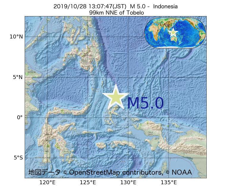 2019年10月28日 13時07分 - インドネシアでM5.0