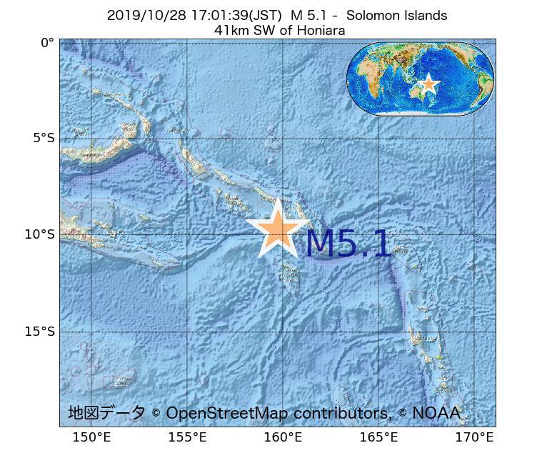2019年10月28日 17時01分 - ソロモン諸島でM5.1