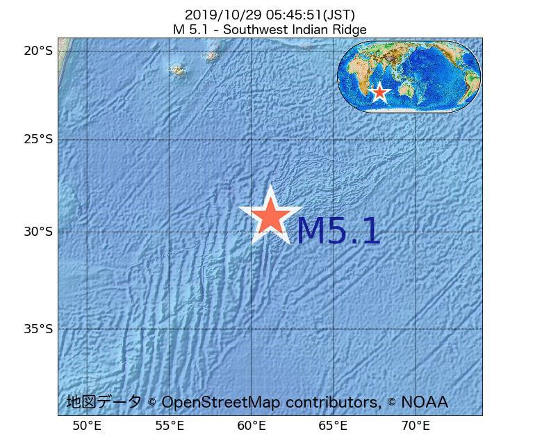 2019年10月29日 05時45分 - 南西インド洋海嶺でM5.1