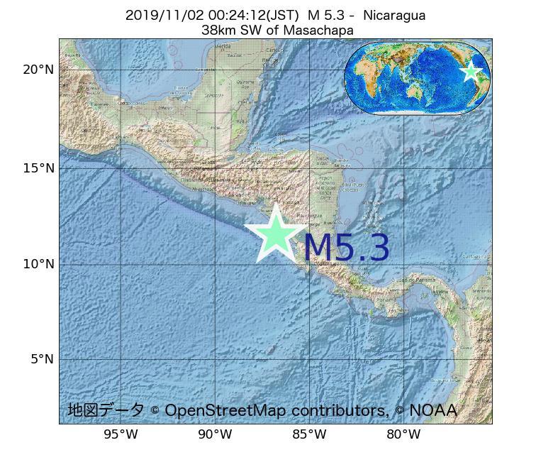 2019年11月02日 00時24分 - ニカラグアでM5.3