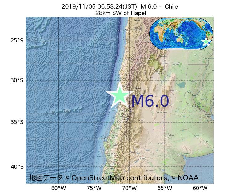 2019年11月05日 06時53分 - チリでM6.0