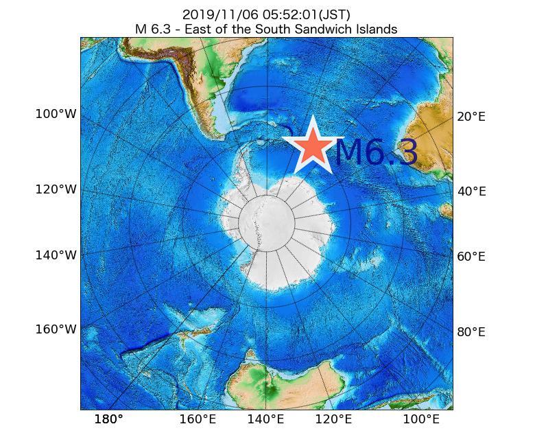 2019年11月06日 05時52分 - ウスサンドウィッチ諸島の東でM6.3
