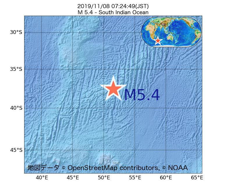2019年11月08日 07時24分 - 南インド洋でM5.4