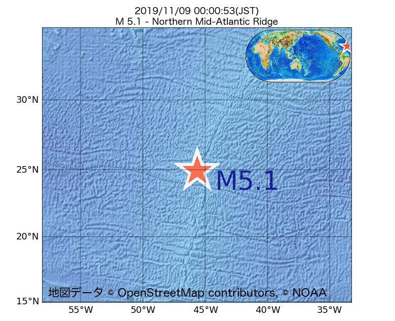 2019年11月09日 00時00分 - 大西洋中央海嶺北部でM5.1