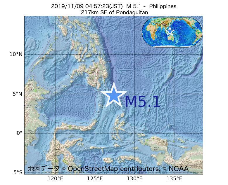 2019年11月09日 04時57分 - フィリピンでM5.1