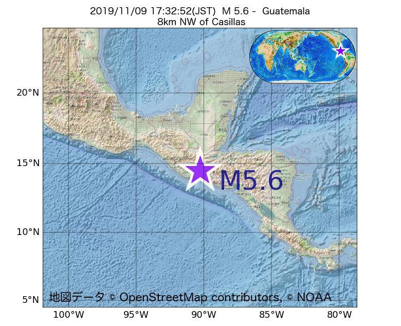 2019年11月09日 17時32分 - グアテマラでM5.6