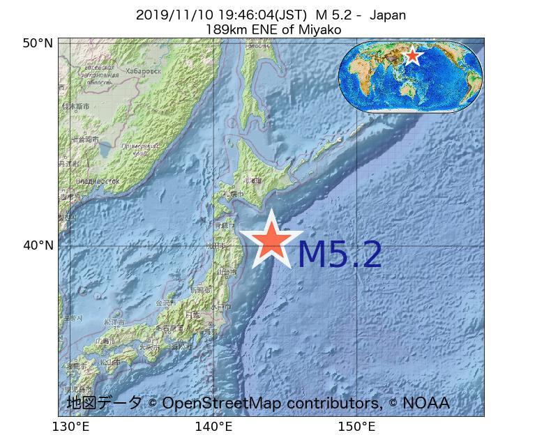2019年11月10日 19時46分 - 日本でM5.2