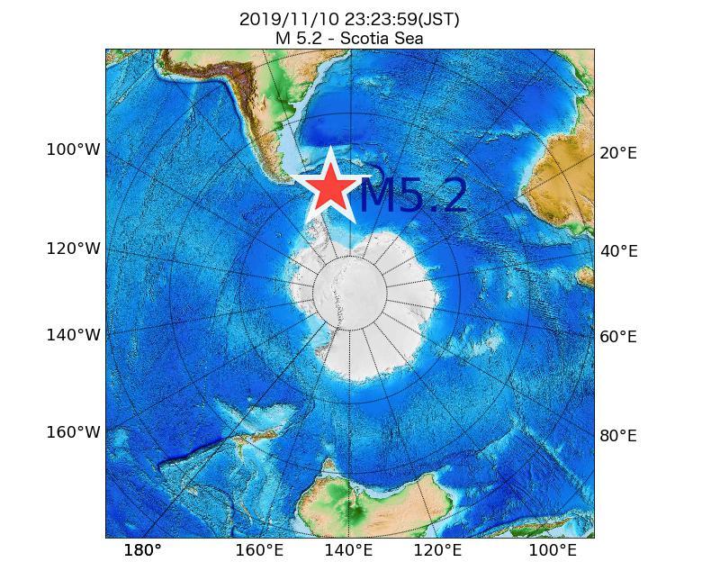 2019年11月10日 23時23分 - スコシア海でM5.2