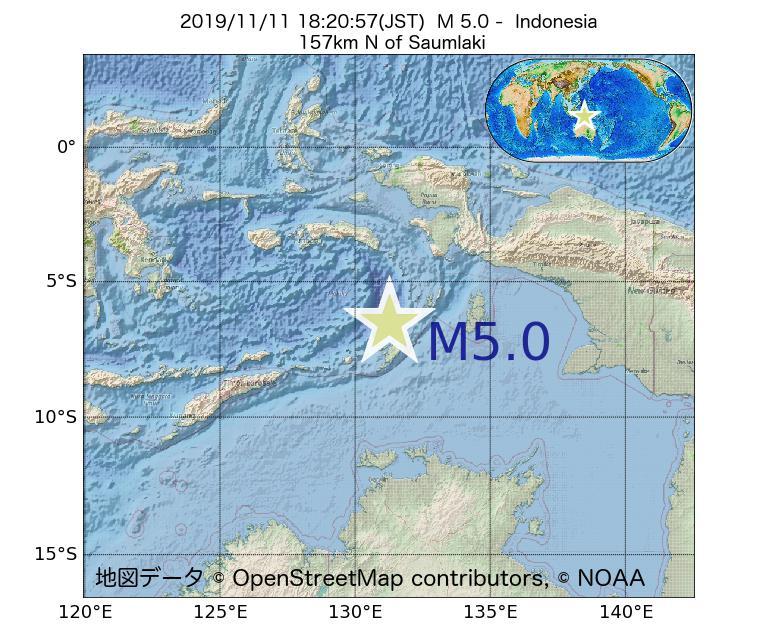 2019年11月11日 18時20分 - インドネシアでM5.0