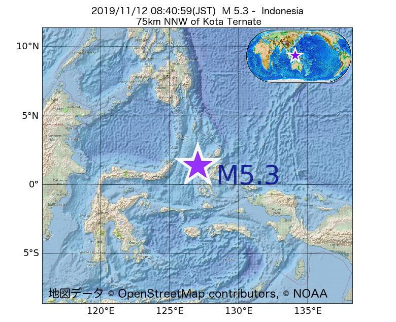 2019年11月12日 08時40分 - インドネシアでM5.3
