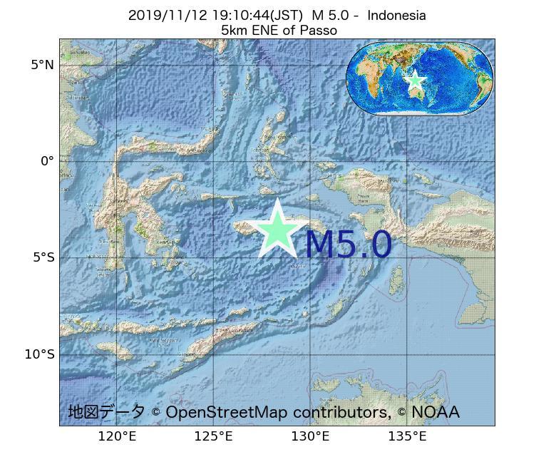 2019年11月12日 19時10分 - インドネシアでM5.0