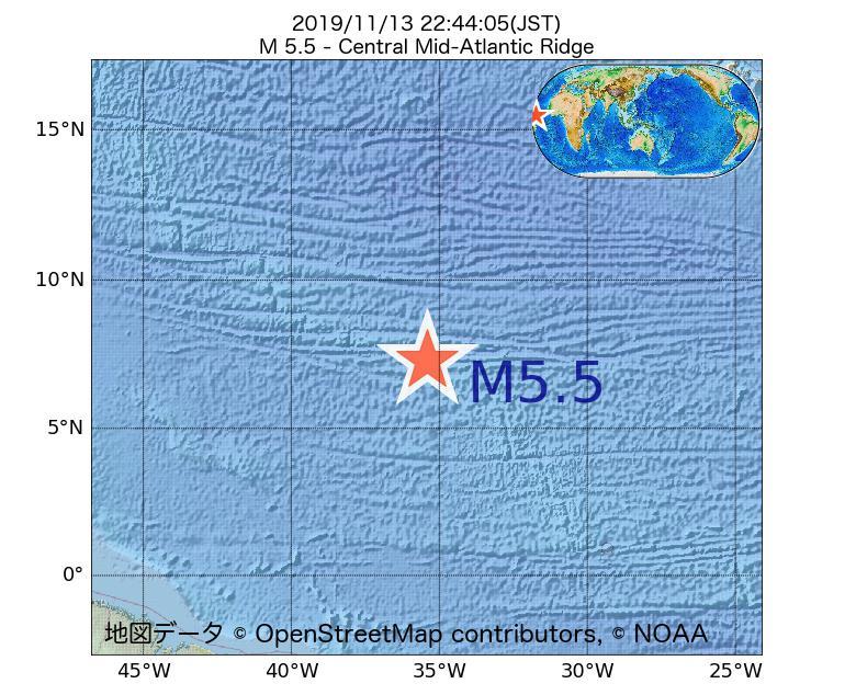 2019年11月13日 22時44分 - 大西洋中央海嶺でM5.5
