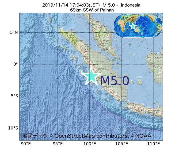 2019年11月14日 17時04分 - インドネシアでM5.0