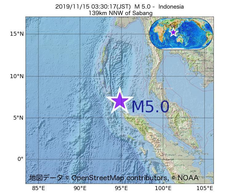 2019年11月15日 03時30分 - インドネシアでM5.0